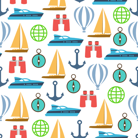 Vector travel seamless pattern with graphic flat elements.  イラスト・ベクター素材