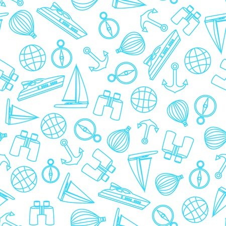 Vector travel seamless pattern with graphic thin line elements with yacht, anchors and scope