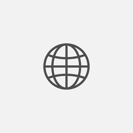 Web earth globe line flat isolated world icon