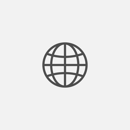 Web earth globe line flat isolated world icon