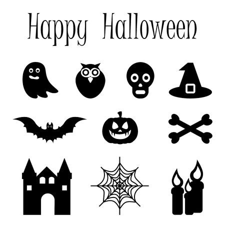 Happy Halloween vector icon set of symbols