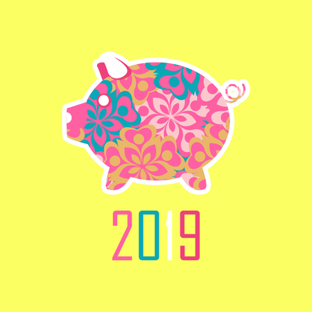 Vector illustration of Chinese New Year 2019 of the pig Ilustração