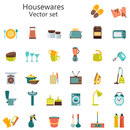 Vector set of household appliances design flat icons, housewares big set