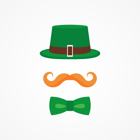 Vector flat design icon on Saint Patricks Day character leprechaun with green hat