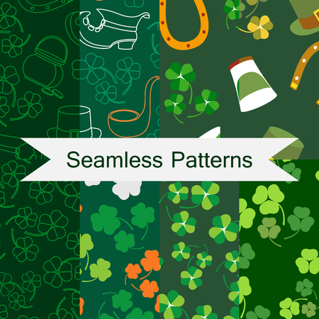 Saint Patricks Day vector seamless pattern set of green background