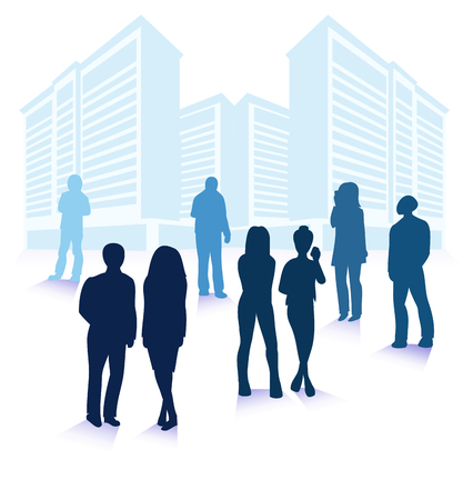 Vector illustration of business people silhouettes over city modern buildings