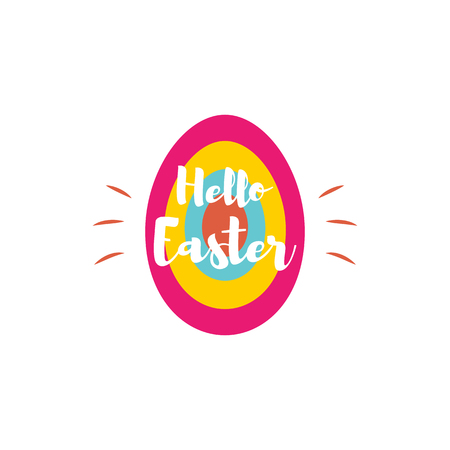 Vector Happy Easter lettering for greeting card on color egg