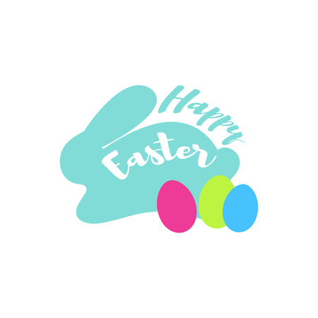 Happy Easter and blue bunny with eggs on white background