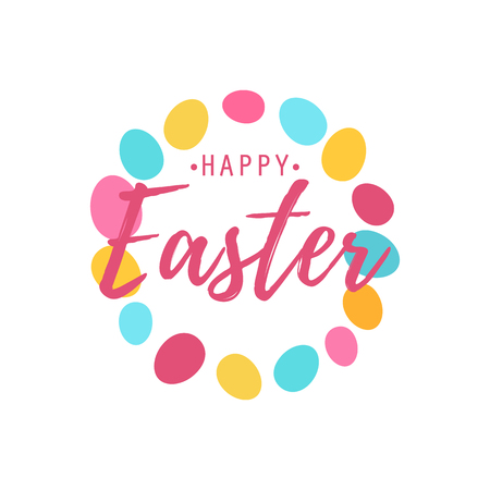 Happy Easter text as logotype with eggs background