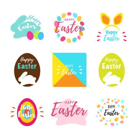 Happy Easter greeting cards with bunny, eggs and lettering