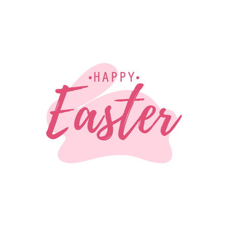 Happy Easter and pink bunny on white background Ilustração