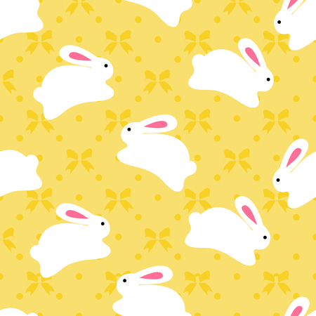 Seamless pattern of bunnies on orange background with bow elements