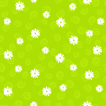 Vector floral pattern in doodle style on green background