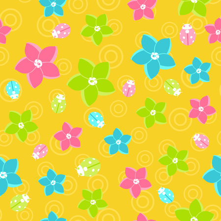 Vector floral pattern in doodle style on orange background