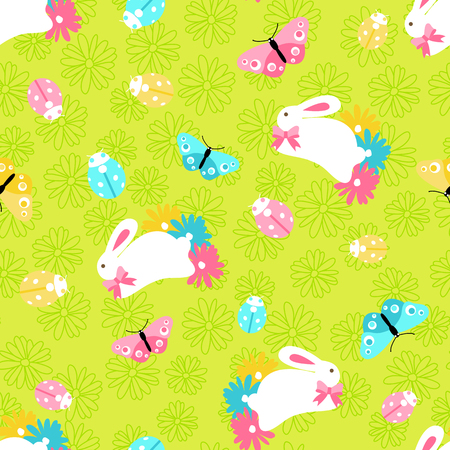 Seamless pattern with easter spring bunny in flowers on green background in cartoon style Ilustração