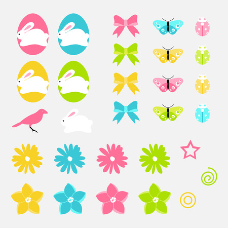 Easter vector object set of spring flowers, eggs, bunny and birds