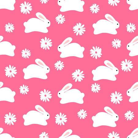 Seamless pattern of cute white bunnies on pink background with floral elements