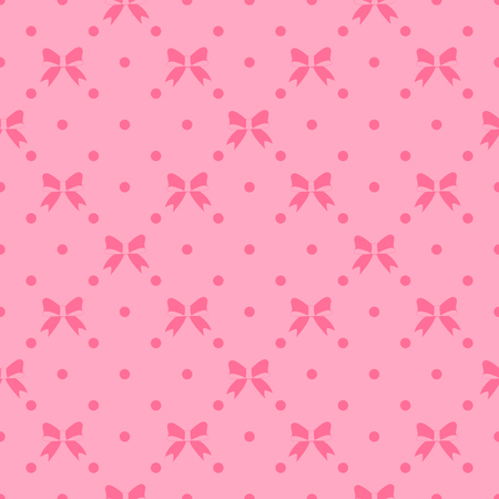 Seamless pattern with beautiful bows on pink background