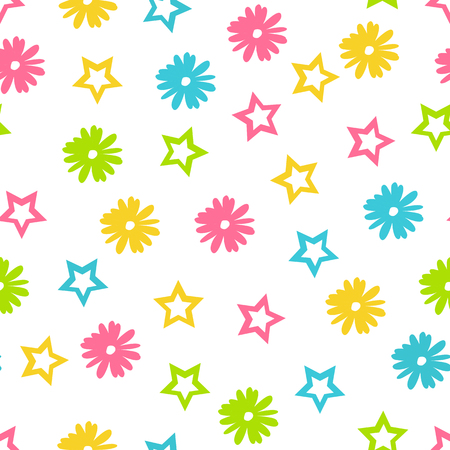 Vector floral seamless pattern in doodle style with flowers and stars Ilustração