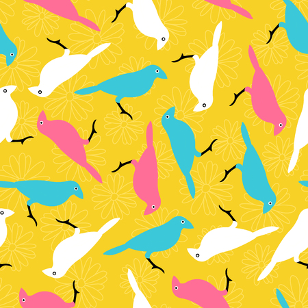 Vector seamless pattern with colorful birds and flowers Ilustração