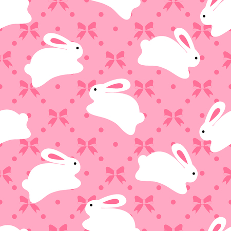 Seamless pattern of bunnies on pink background with bow elements