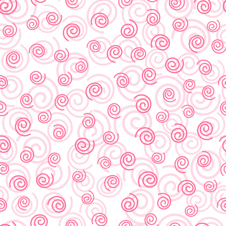 Abstract doodle curly pink geometric seamless pattern bakground