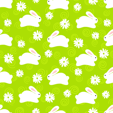 Seamless pattern of cute white bunnies on green background with floral elements
