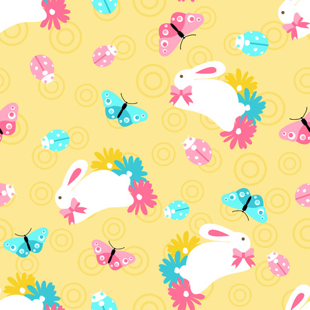 Seamless pattern with easter spring bunny in flowers on orange background in cartoon style Ilustração