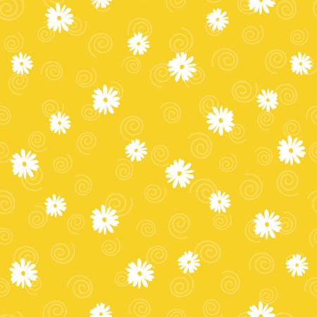 Vector floral seamless pattern in doodle style on orange background