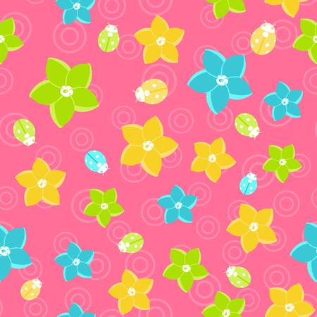 Vector floral seamless pattern in doodle style on pink background