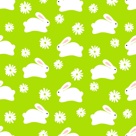 Seamless pattern of white bunnies on green background with floral elements