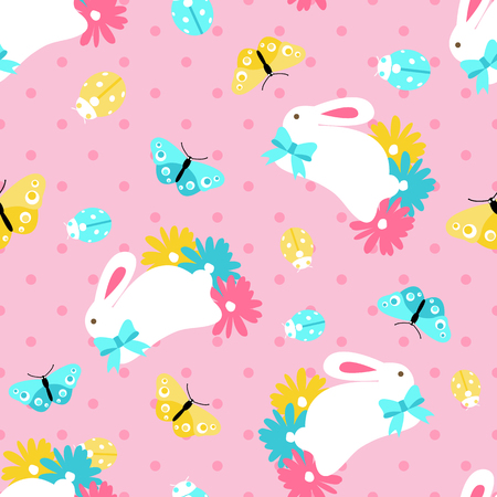 Seamless pattern with easter spring bunny in flowers on pink background