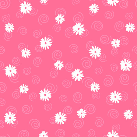 Vector floral seamless pattern in doodle style on pink