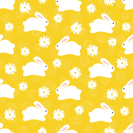 Seamless pattern of white bunnies on orange background with floral elements