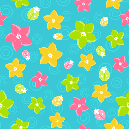 Floral seamless pattern in doodle style on blue background