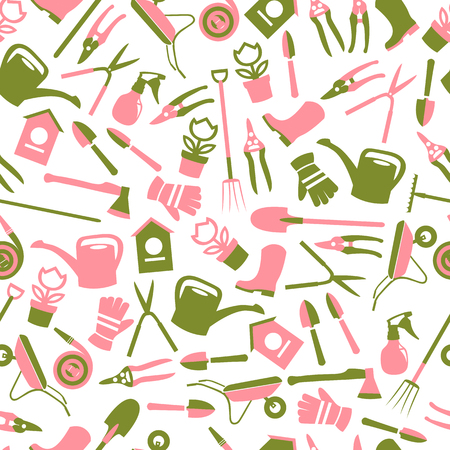 Vector spring background. Garden tools set. Seamless pattern