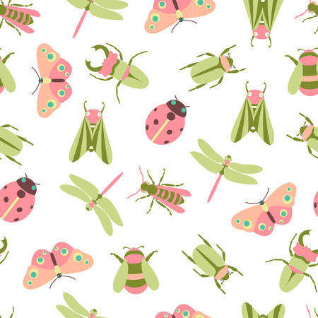 Spring and summer botanic vector seamless pattern. Insects spring wallpaper, bees and Butterflies Ilustração