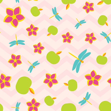 Summer botanic vector seamless pattern. Insects spring wallpaper with flowers and fruits