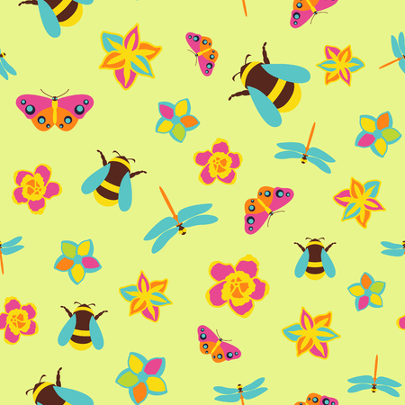 Summer botanic vector seamless pattern. Insects spring wallpaper with flowers