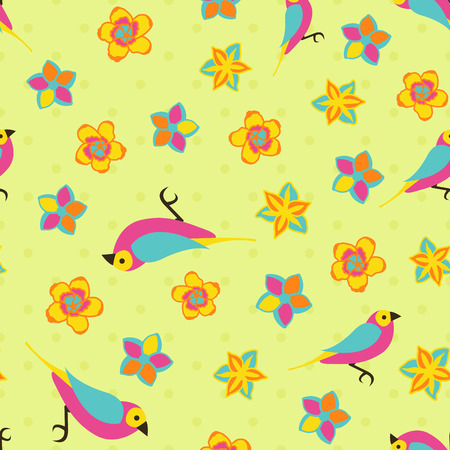 Vector spring background. Garden tools set. Seamless color pattern.