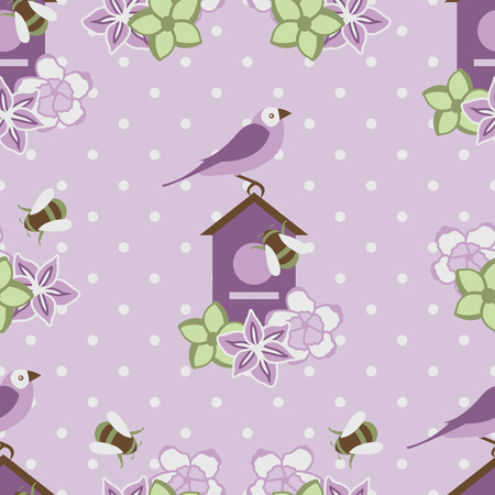 Seamless Pattern with Purple Flowers and Birds on polka dots background