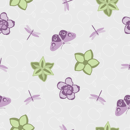 Vector illustration of floral pattern, purple flowers and butterfly