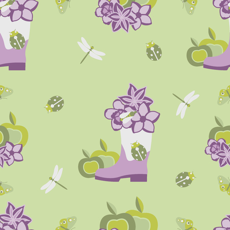 Vector illustration of floral pattern, purple flowers, apples, ladybag on green background