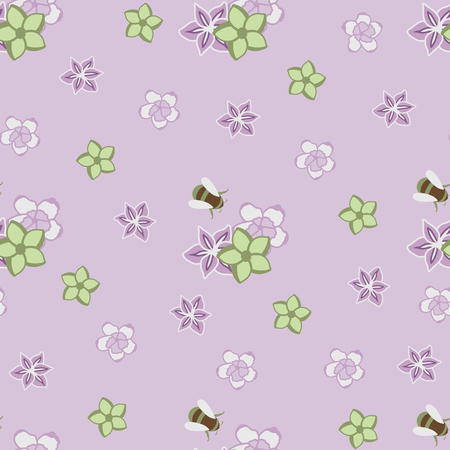 Coloring vintage flower and bee in purple seamless pattern Ilustração