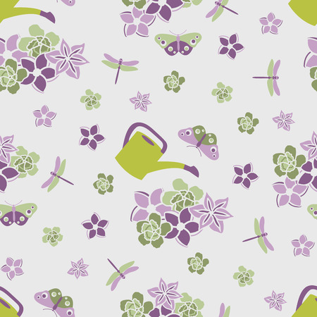 Seamless Pattern with Purple Flowers and Flying Butterflies