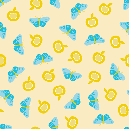 Vector seamless pattern illustration of blue butterflies with apple on beige background