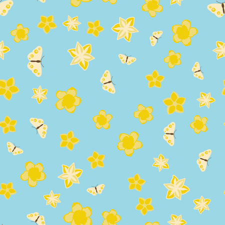 Vector seamless pattern illustration of yellow butterflies with flowers on blue background