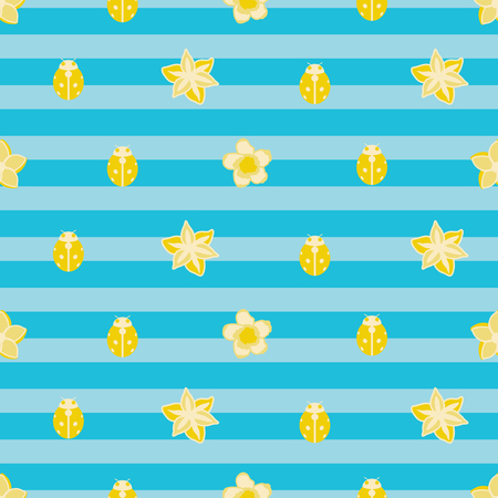 Vector seamless pattern illustration of yellow ladybugs with flowers on blue background