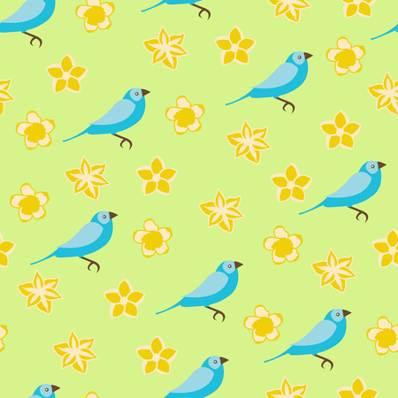 Vector seamless pattern illustration of yellow flowers and blue birds on green background Ilustração