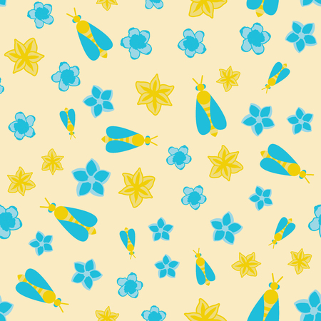 Vector seamless pattern with honey bee and flowers on beige background Ilustração